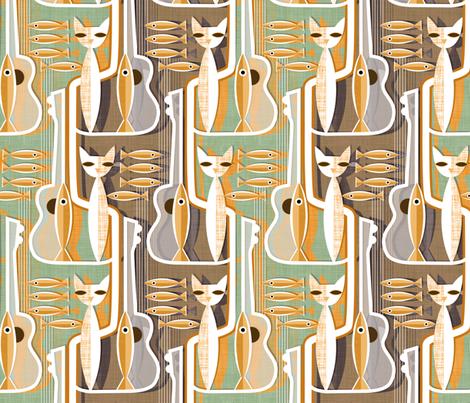 Cat Fish.Custom colourway fabric by spellstone on Spoonflower - custom fabric