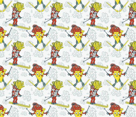 Pizza-French Fry fabric by treehousedesignstudio on Spoonflower - custom fabric