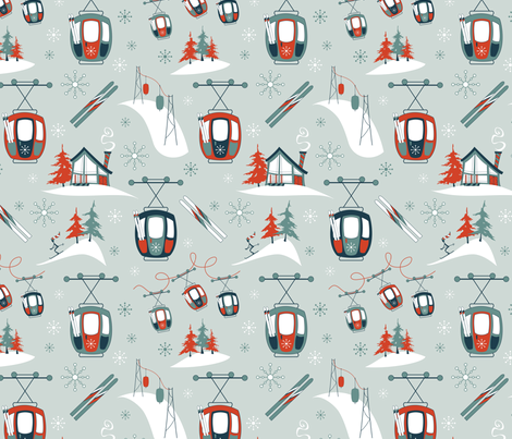 Vintage Ski Gondolas (Classic)  fabric by brendazapotosky on Spoonflower - custom fabric