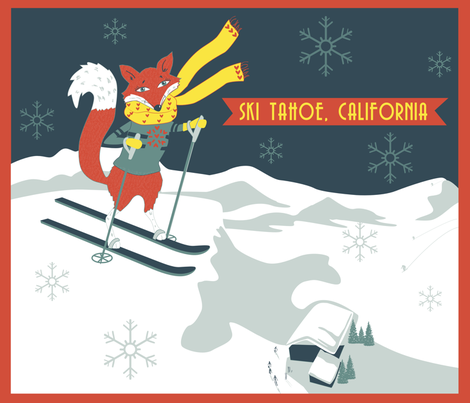 Sking_Fox_Tahoe_Retro_Poster fabric by tina_cash_designs on Spoonflower - custom fabric