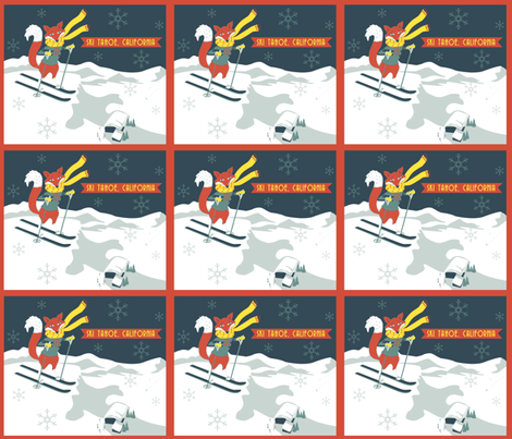 Sking_Fox_Tahoe_Retro_Poster fabric by tinastextiles on Spoonflower - custom fabric