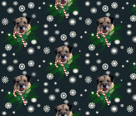 border_terrier_Christmas_with snowflakes fabric by dogdaze_ on Spoonflower - custom fabric