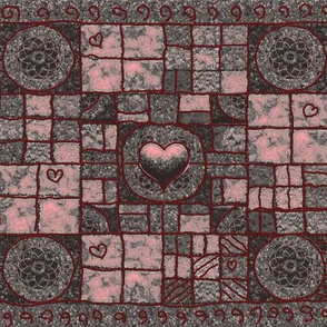 Castle Gray and Rose Heart Checkerboard