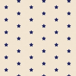 Star Polka Dot Navy on Ecru