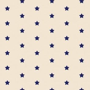 Star Polka Dot Navy on Ecru