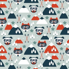 Retro ski fox and grizzly bear goggles winter woodland