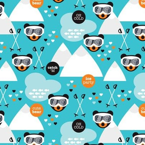 Retro blue ski bear pattern actic kids design