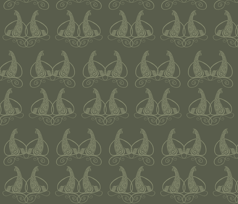 Cat and Mouse - Olive Green fabric by lottibrown on Spoonflower - custom fabric