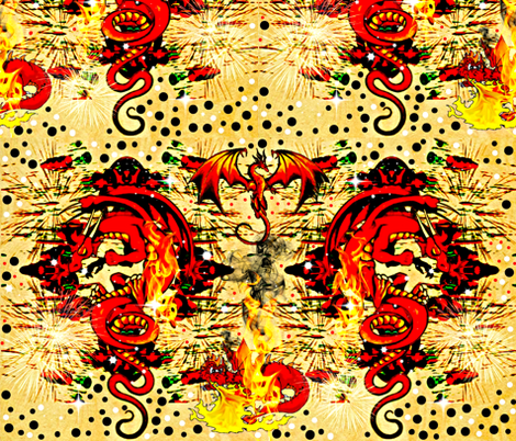 Red Dragon fabric by whimzwhirled on Spoonflower - custom fabric