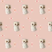 Owl in Dusty Peach, Orange Diamonds