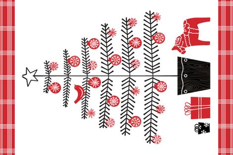 Folk Tree Tea Towel fabric by jenimp on Spoonflower - custom fabric