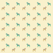 Dala Horse Yellow Aqua
