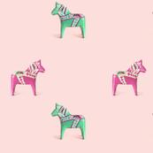 Dala Horse Green Pink