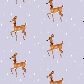 Prancing Christmas Deer on Silver Lilac