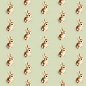 Retro Bunny in Sage, Facing Right