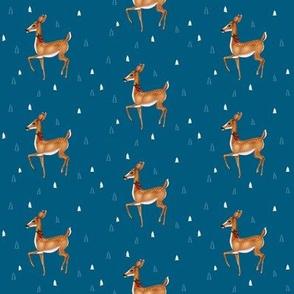 Prancing Christmas Deer on Festive Blue