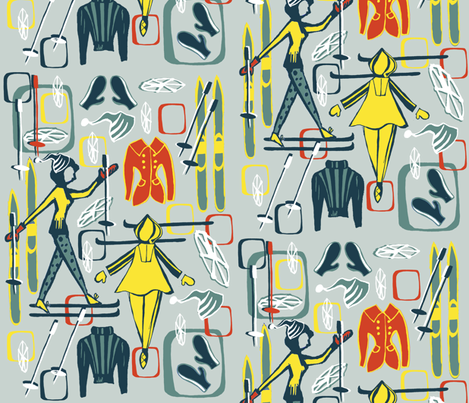 Hit the Slopes 50s Style! fabric by slumbermonkey on Spoonflower - custom fabric