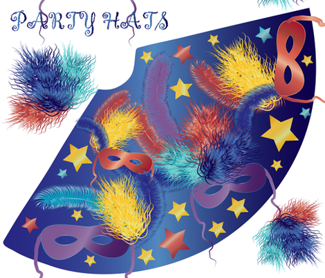 Party hats with feathers fabric by kociara on Spoonflower - custom fabric