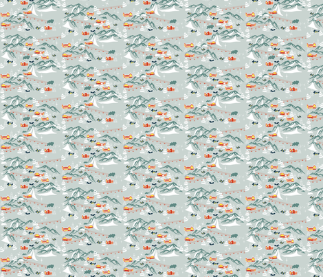 Retro Swiss Village  fabric by graceful on Spoonflower - custom fabric