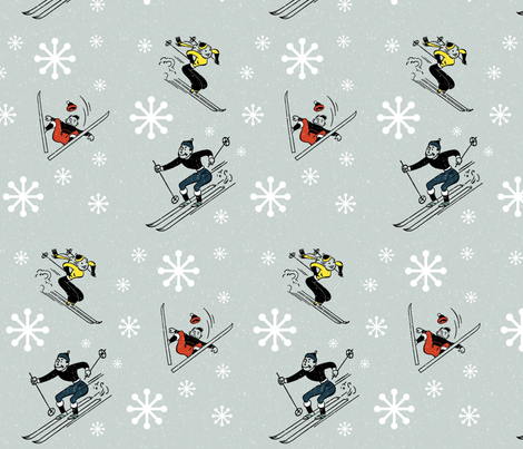 Retro-Skiing fabric by kfrogb on Spoonflower - custom fabric