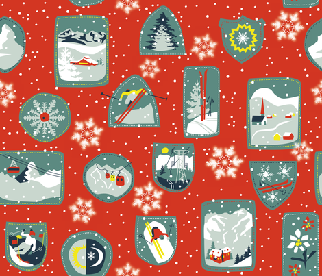 Vintage Ski fabric by nitelite on Spoonflower - custom fabric