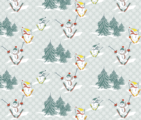Skiing Snowmen  fabric by k-j on Spoonflower - custom fabric