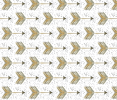 Watercolor Arrow Neutral Horizontal fabric by emilysanford on Spoonflower - custom fabric