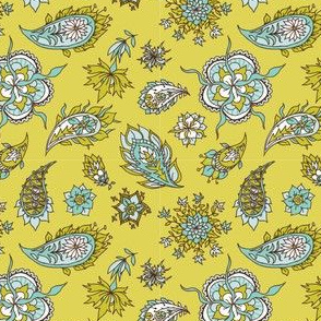 Paisley on mustard background