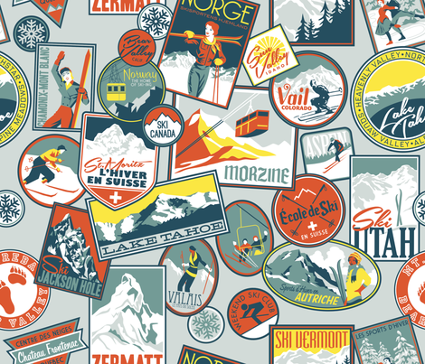 Retro Ski Badges fabric by k80horn on Spoonflower - custom fabric
