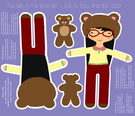 The other girl in the bear hat fabric by littlethingsjo on Spoonflower - custom fabric