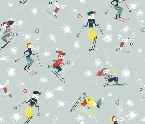 Oui We Retro Ski fabric by cynthiafrenette on Spoonflower - custom fabric