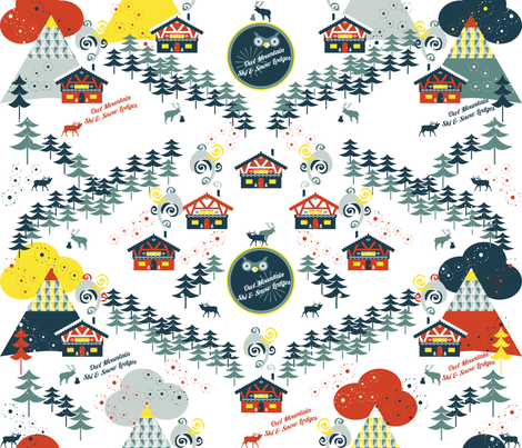 OwlMountainSkiLodges fabric by paula's_designs on Spoonflower - custom fabric