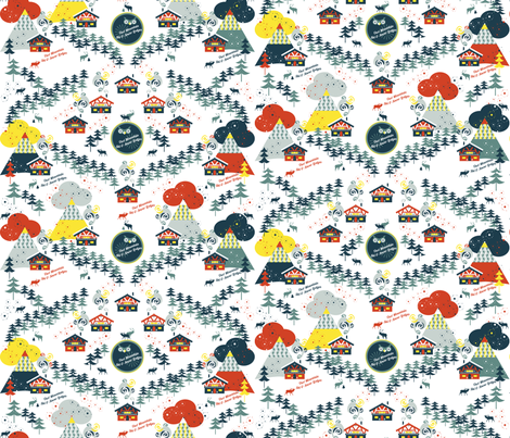 Owl Mountain Ski Lodges fabric by paula's_designs on Spoonflower - custom fabric