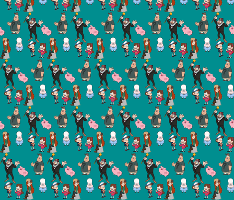 Gravity falls fabric m rky muffin spoonflower for Gravity fabric