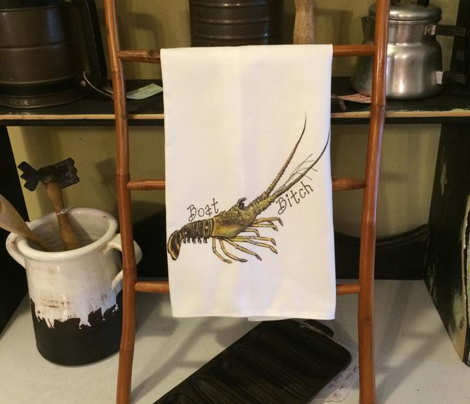 Lobster Boat Bitch Tea Towel