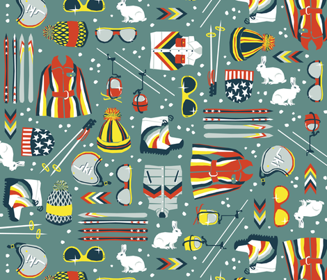 Skiing: 1970s Style fabric by sammyk on Spoonflower - custom fabric