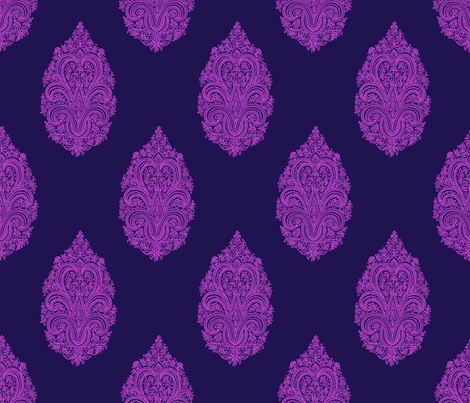 Solo Paisley Damask~ Horatio and Fuschia fabric by peacoquettedesigns on Spoonflower - custom fabric