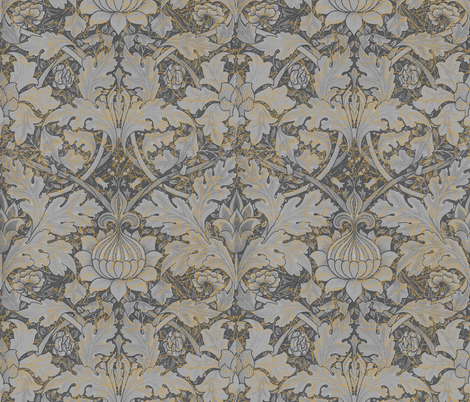 William Morris ~ Growing Damask ~ Grey Garden fabric by peacoquettedesigns on Spoonflower - custom fabric