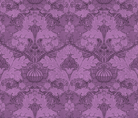 William Morris ~ Growing Damask ~ Hothouse Flower fabric by peacoquettedesigns on Spoonflower - custom fabric