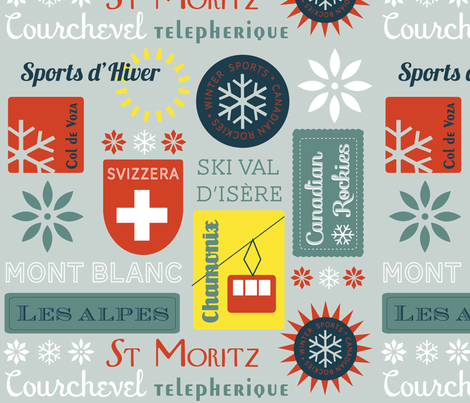 Retro Ski badges fabric by snowflower on Spoonflower - custom fabric