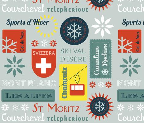 Retro Ski badges fabric by snowflower on Spoonflower - custom fabric