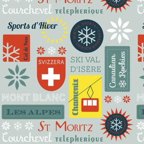Retro Ski badges