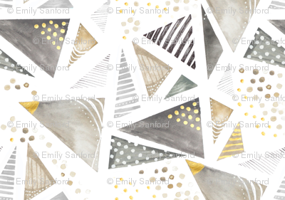 Geo Watercolor in Neutral Gold LARGE