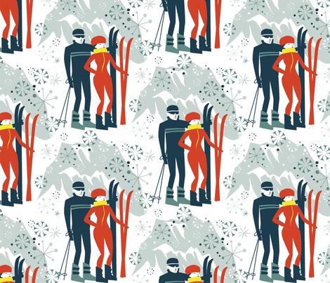 Svetlana Struts her Scarlet Skiis fabric by robinpickens on Spoonflower - custom fabric