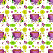 Cup of tea with lemons and flowers