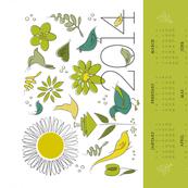2014 calendar towel bird garden