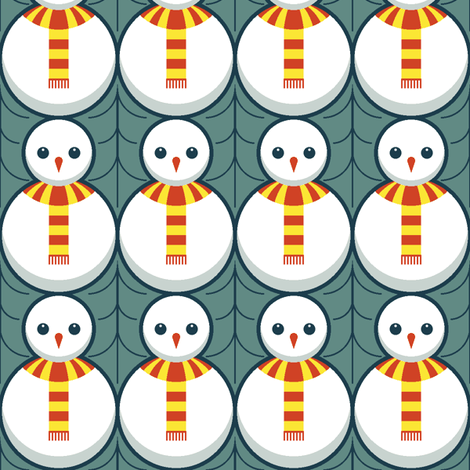 snowman + holly fabric by sef on Spoonflower - custom fabric