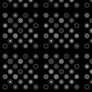 Gear Floral White on Black