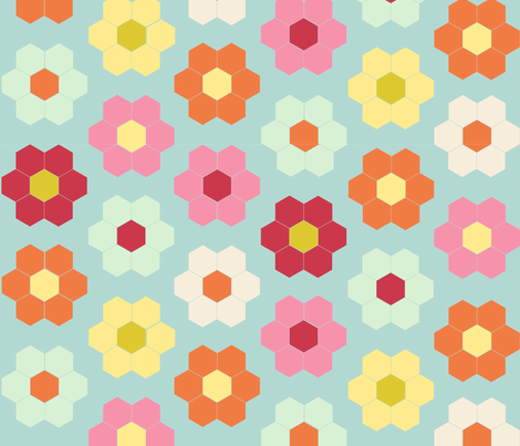flower garden quilt cheater - color palette for contest fabric by laurawilson on Spoonflower - custom fabric