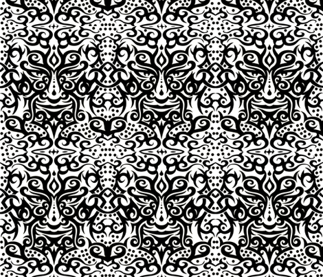 Tribal mask 3 black on white fabric by whimzwhirled on Spoonflower - custom fabric